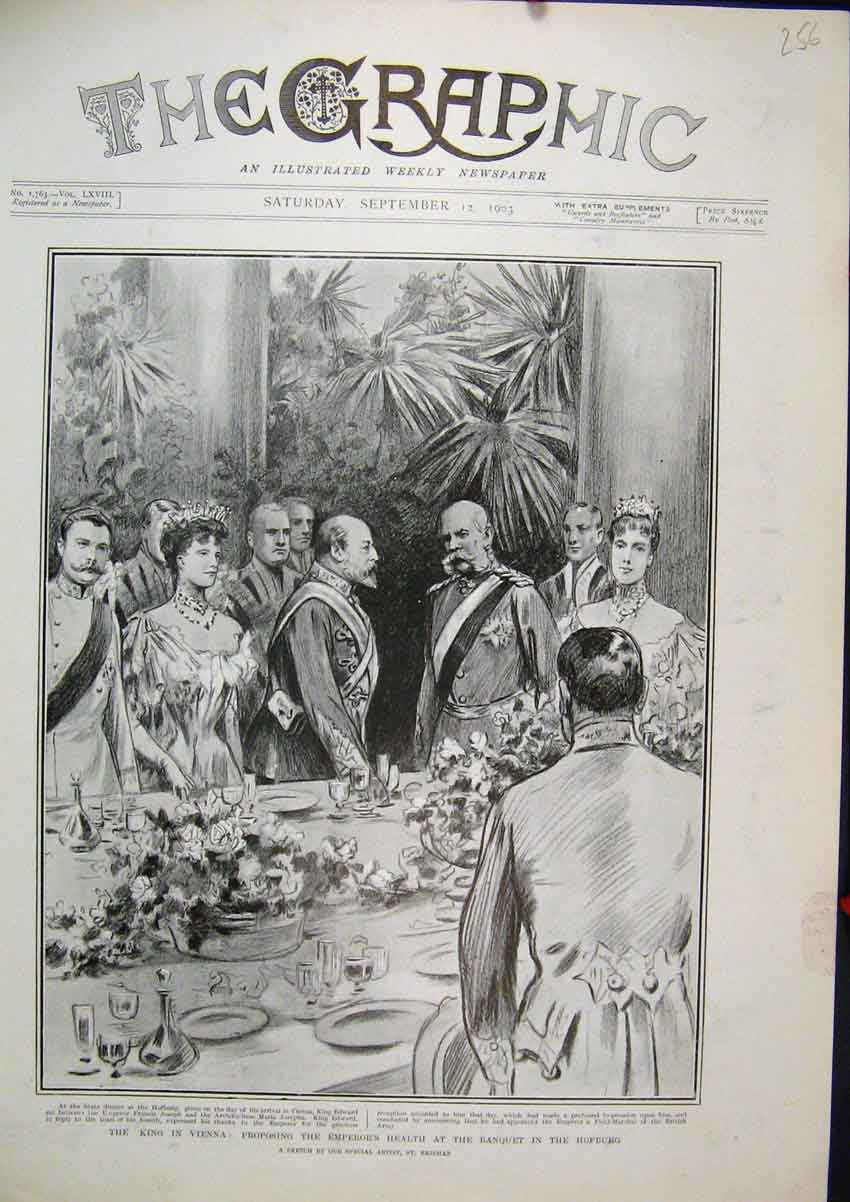 Print 1903 King Vienna Emperor Health Banquet Hofburg Sketch 56Mar1 Old Original
