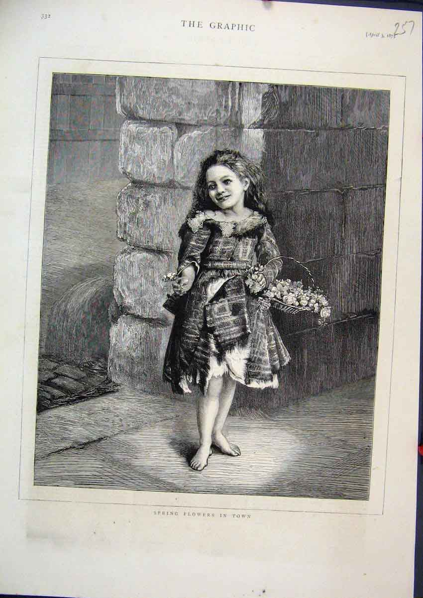 Print 1875 Spring Flowers Young Girl Carrying Basket 57Mar1 Old Original