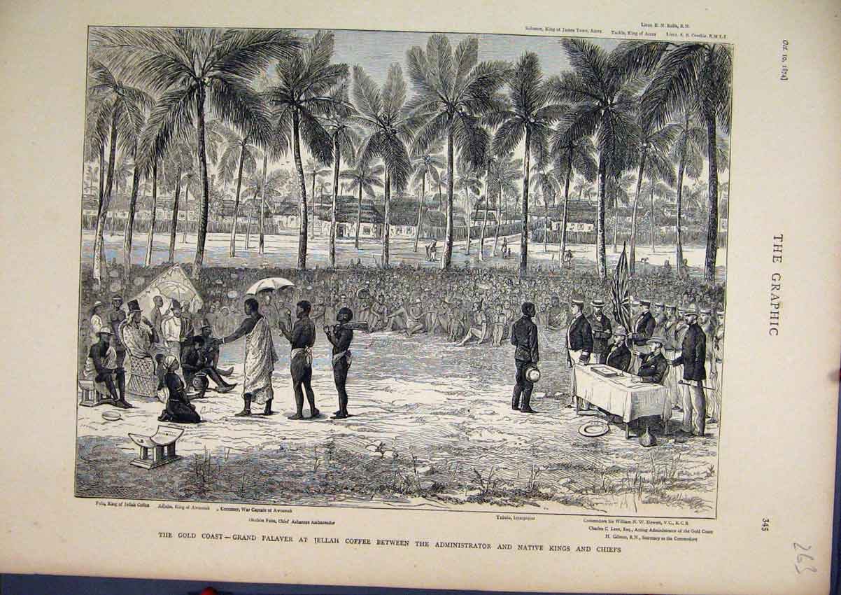 Print 1874 GCoast Palavar Coffee Native Kings Chiefs War 63Mar1 Old Original