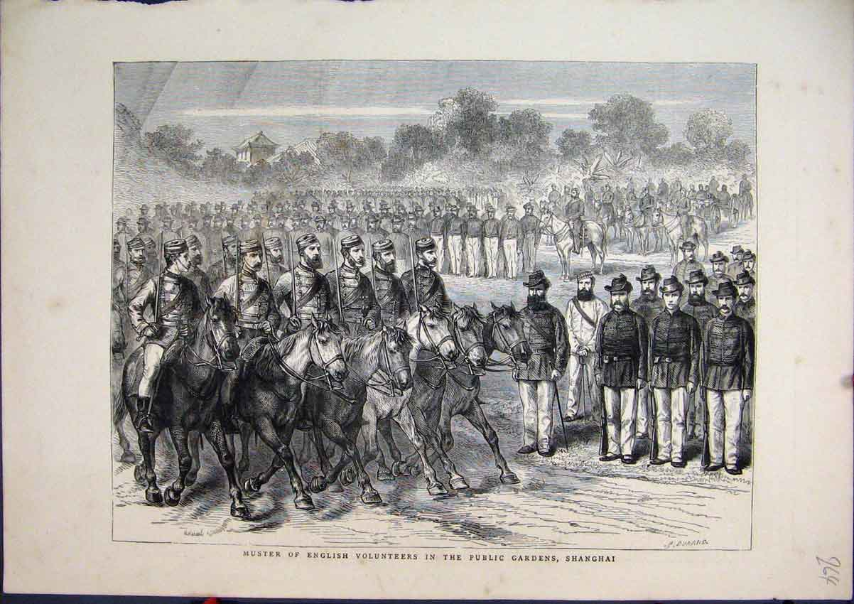 Print English Volunteers 1871 Public Gardens Shanghai 64Mar1 Old Original