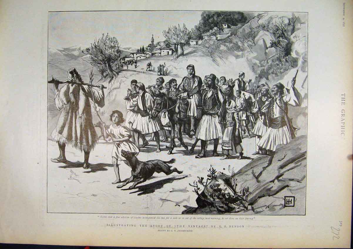 Print 1897 Story Kostas Marching Village 72Mar1 Old Original