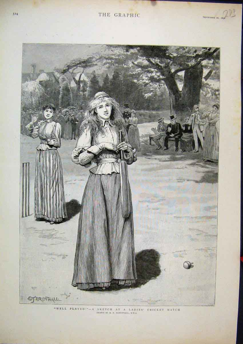 Print 1890 Ladies Cricket Match Sport Country Scene Sketch 73Mar1 Old Original