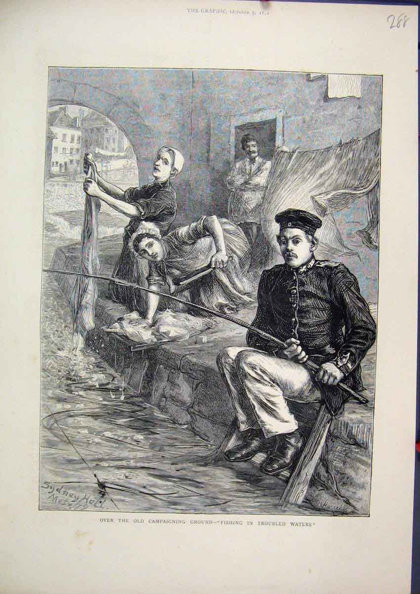 Print 1872 Soldier Fishing River Women Washing Clothes 88Mar1 Old Original
