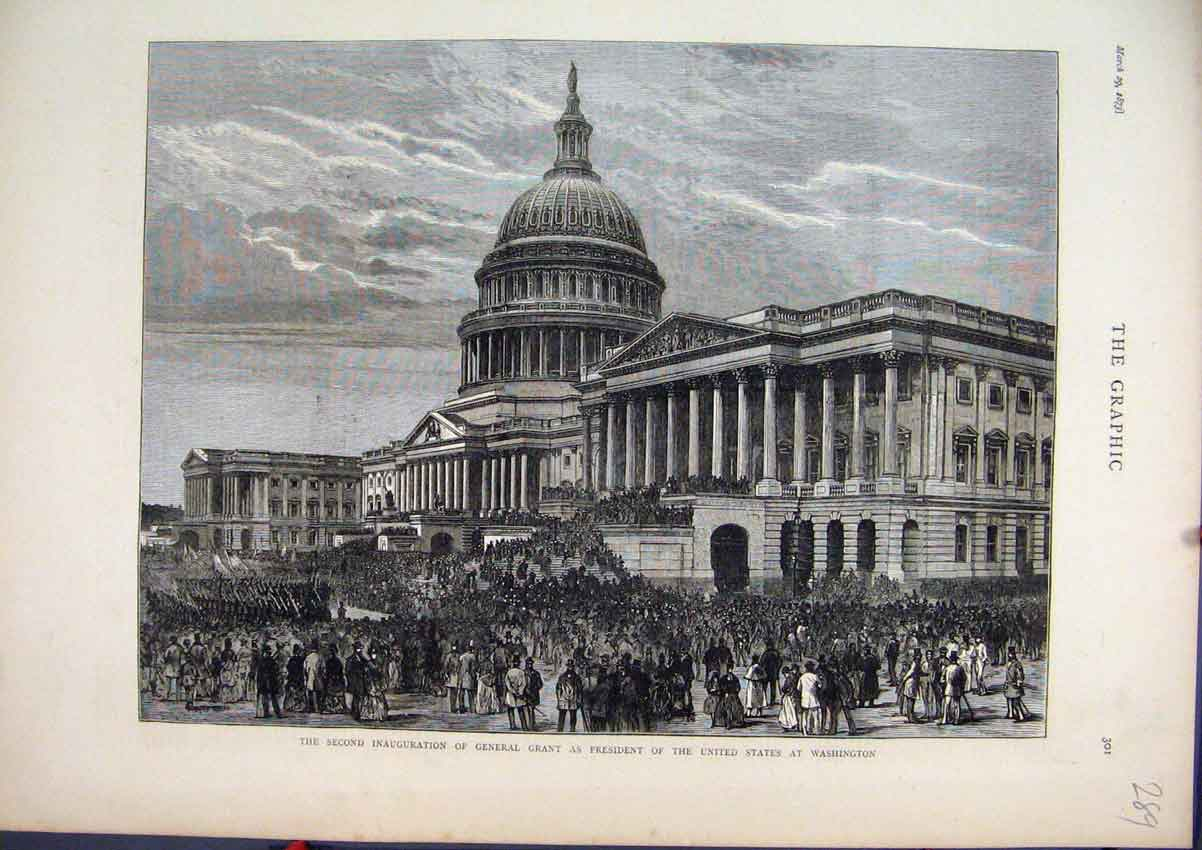Print 1873 Inauguration General Grant President Washington 89Mar1 Old Original