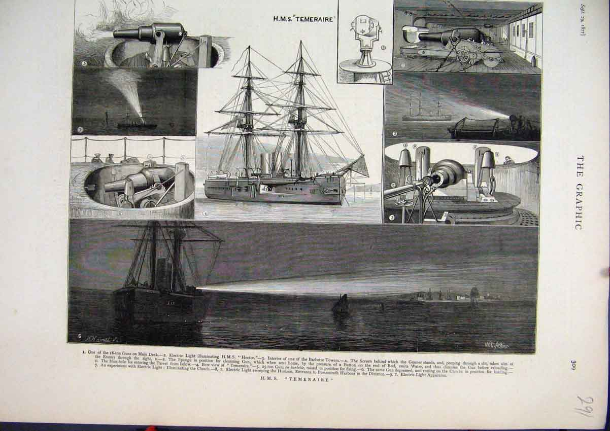 Print 1877 H.M.S Temeraire Ship Barbette Tower Electric Light 91Mar1 Old Original