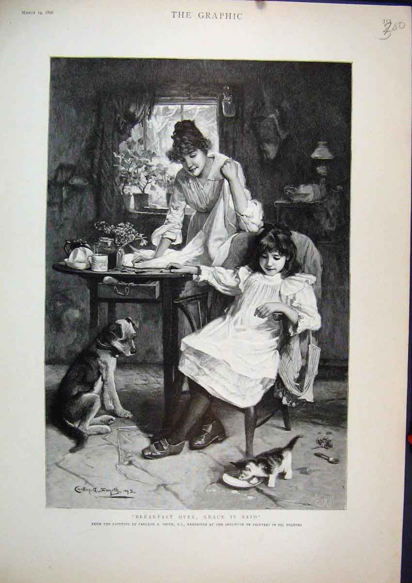 Print 1896 Woman Young Girl Breakfast Table Kittens Dog 00Mar1 Old Original