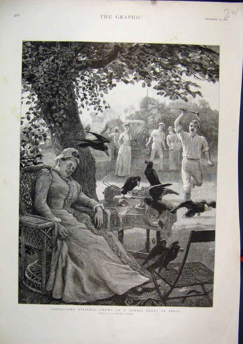 [Print 1891 Crows Tennis Party India Woman Sleeping Tree 01Mar1 Old Original]