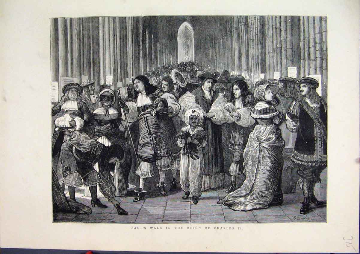 Print Pauls Walk Reign Charles Ii 1872 Costume 15Mar1 Old Original