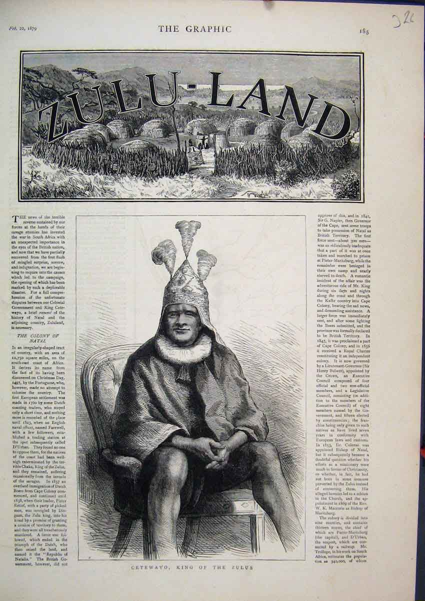 Print Portrait 1879 Cetewayo King Zulus Zulu-Land 26Mar1 Old Original