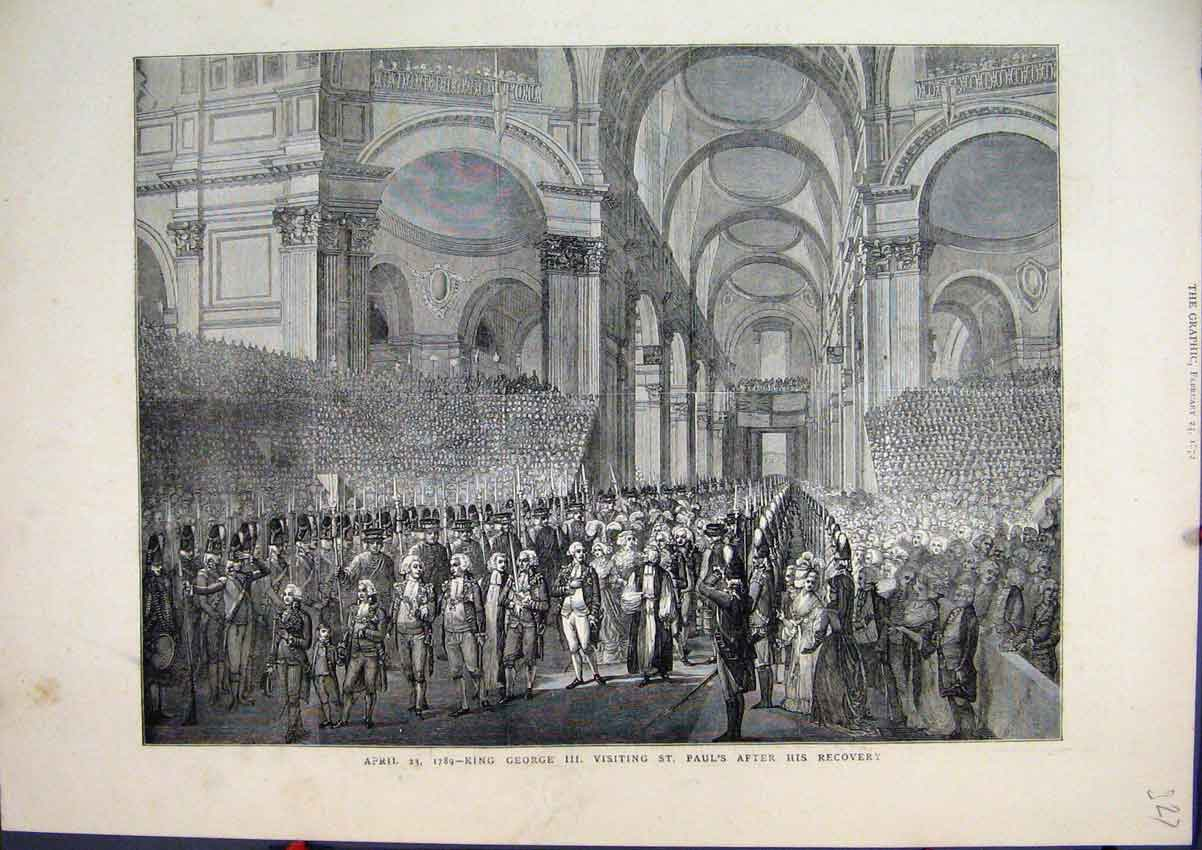 Print 1872 King George Iii St Pauls Cathedral Soldiers 27Mar1 Old Original