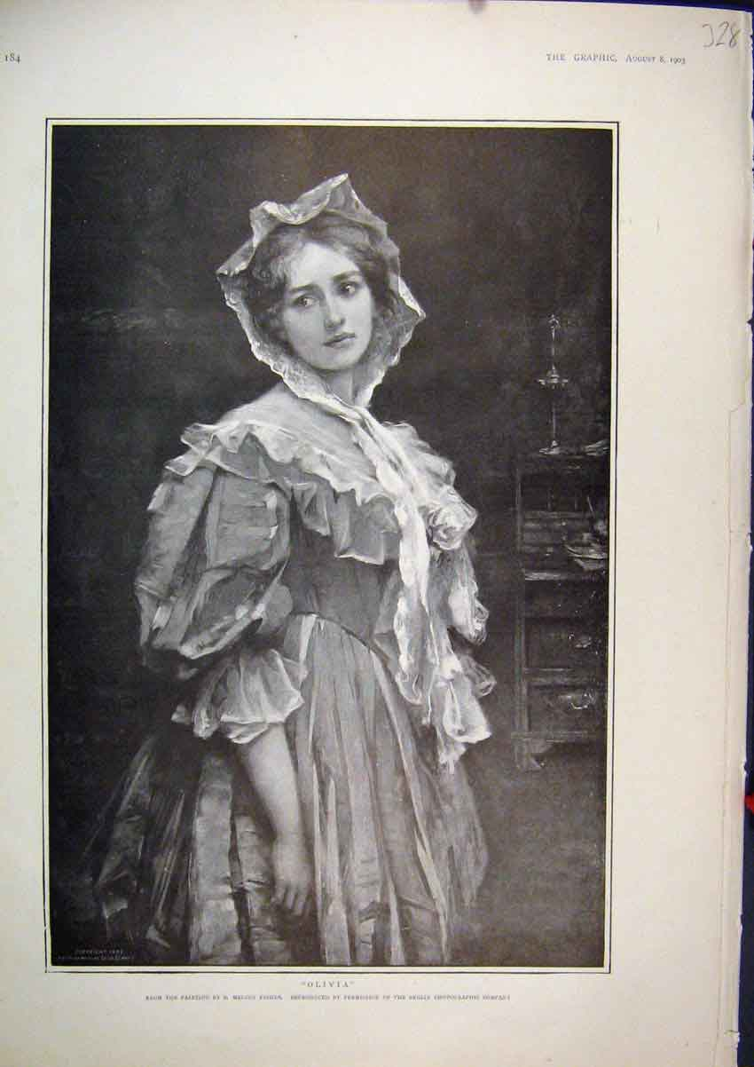 Print 1903 Portrait Olivia Beautiful Girl Fine Art 28Mar1 Old Original