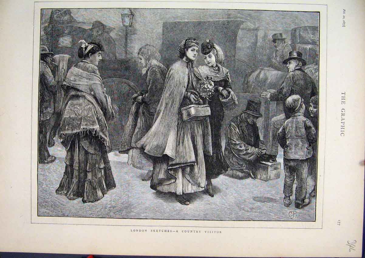 Print 1873 London Sketches Country Visitor Women Flowers 46Mar1 Old Original