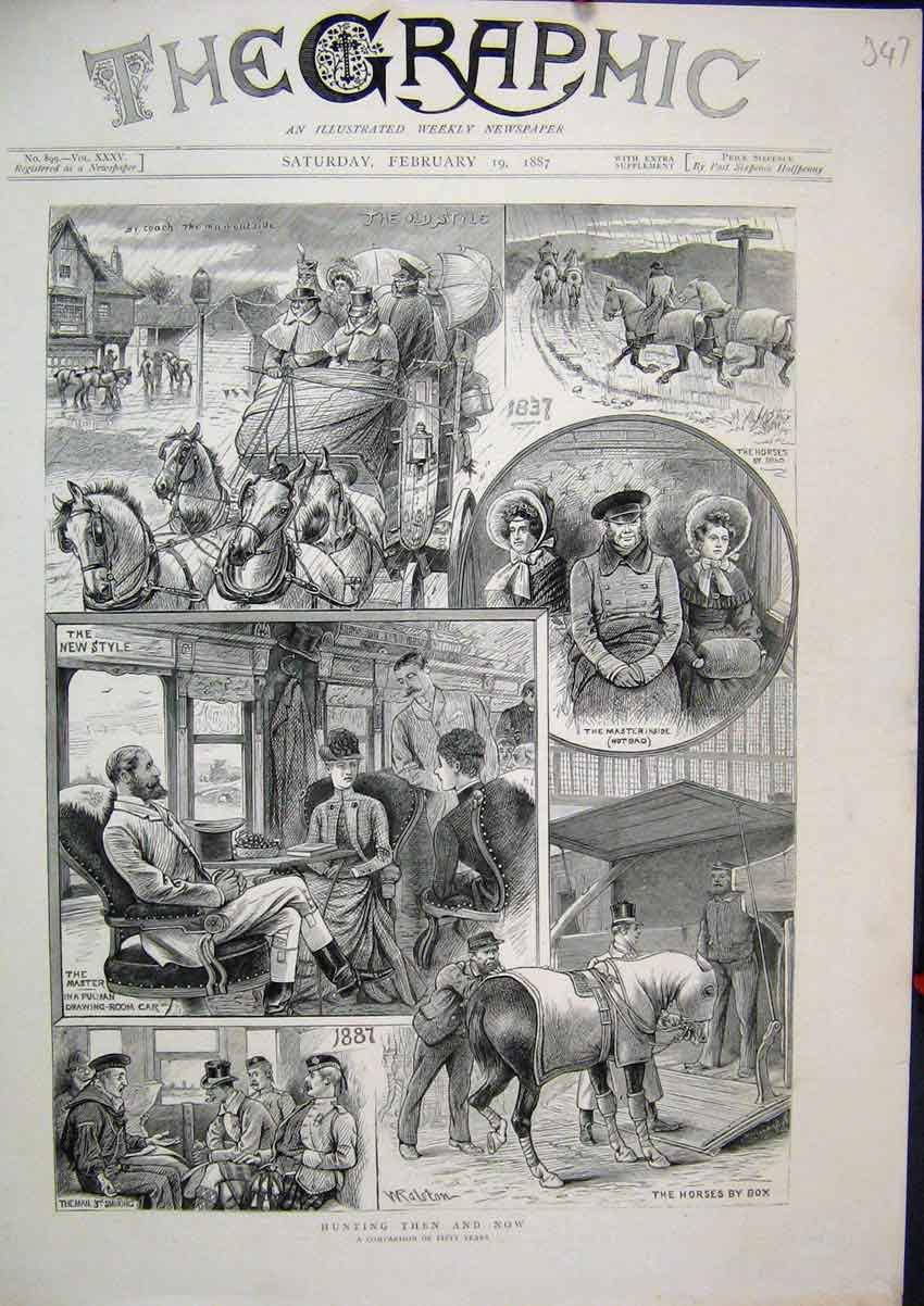 Print 1887 Hunting Horses Coach Pulman Drawing-Room Car 47Mar1 Old Original