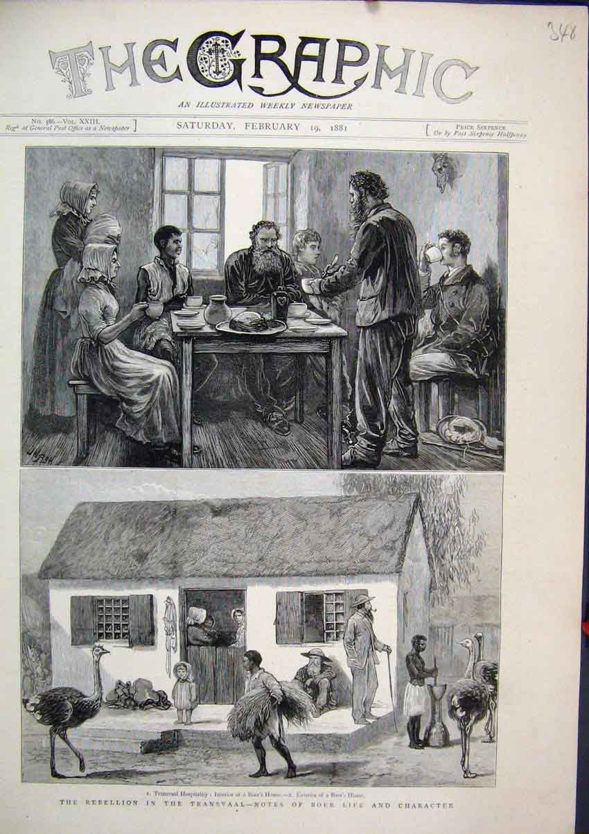 Print Rebellion Transvaal Boers House 1881 Ostrich Children 48Mar1 Old Original