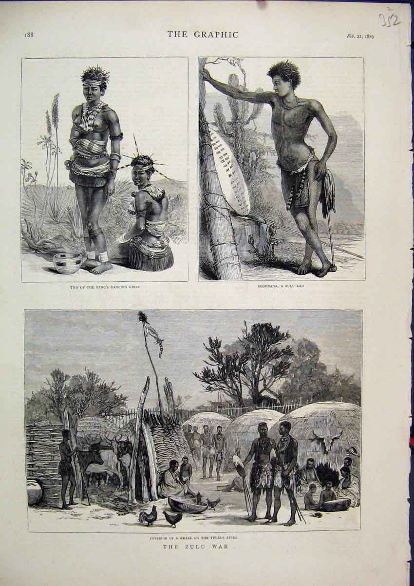 Print 1879 Zulu War Kings Dancing Girls Boombana Kraal Tugela 52Mar1 Old Original