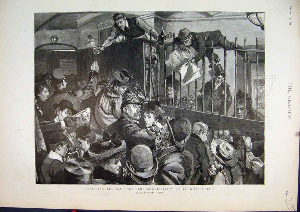 Print Besieging Pit Door 1894 Commissariat Men Climbing Art 55Mar1 Old Original