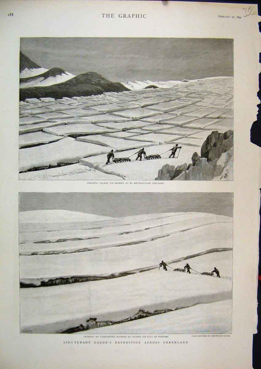 Print Lieutenant Garde 1894 Expedition Greenland Ice Sledge 56Mar1 Old Original