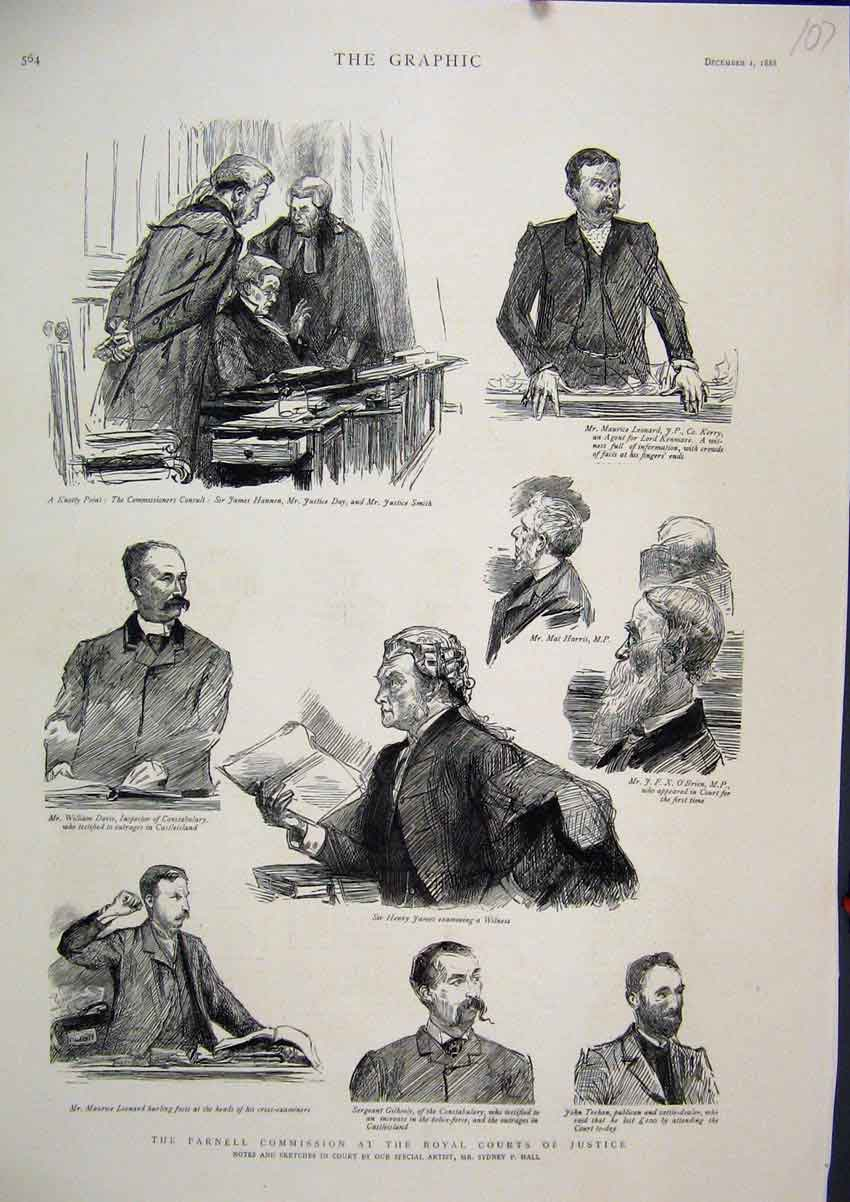 Print 1888 Parnell Commission Royal Courts Justice Sketches 07Mar1 Old Original