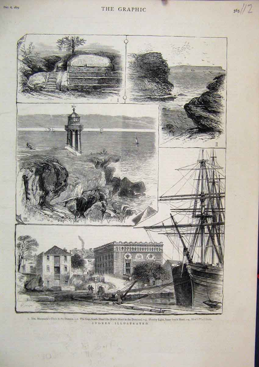 Print 1879 Sydney Australia Macquarie Chair Hornby Light Gap 12Mar1 Old Original