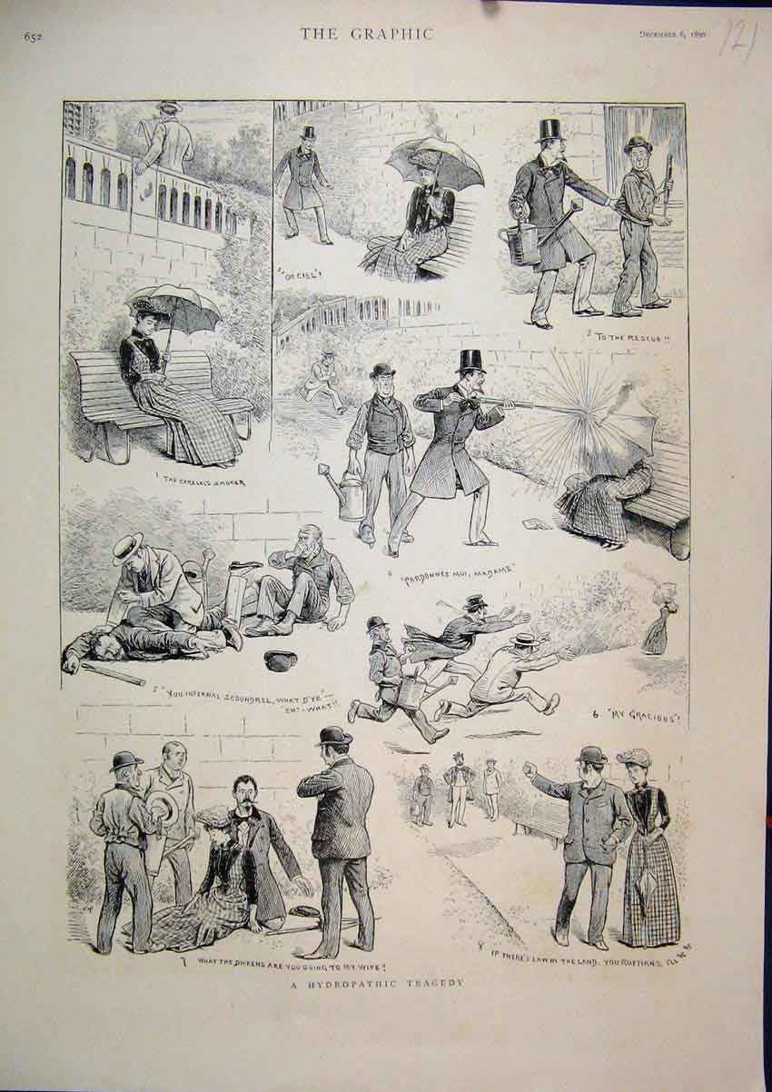 Print 1890 Hydropathic Tragedy Comedy Sketches Smoker Water 21Mar1 Old Original