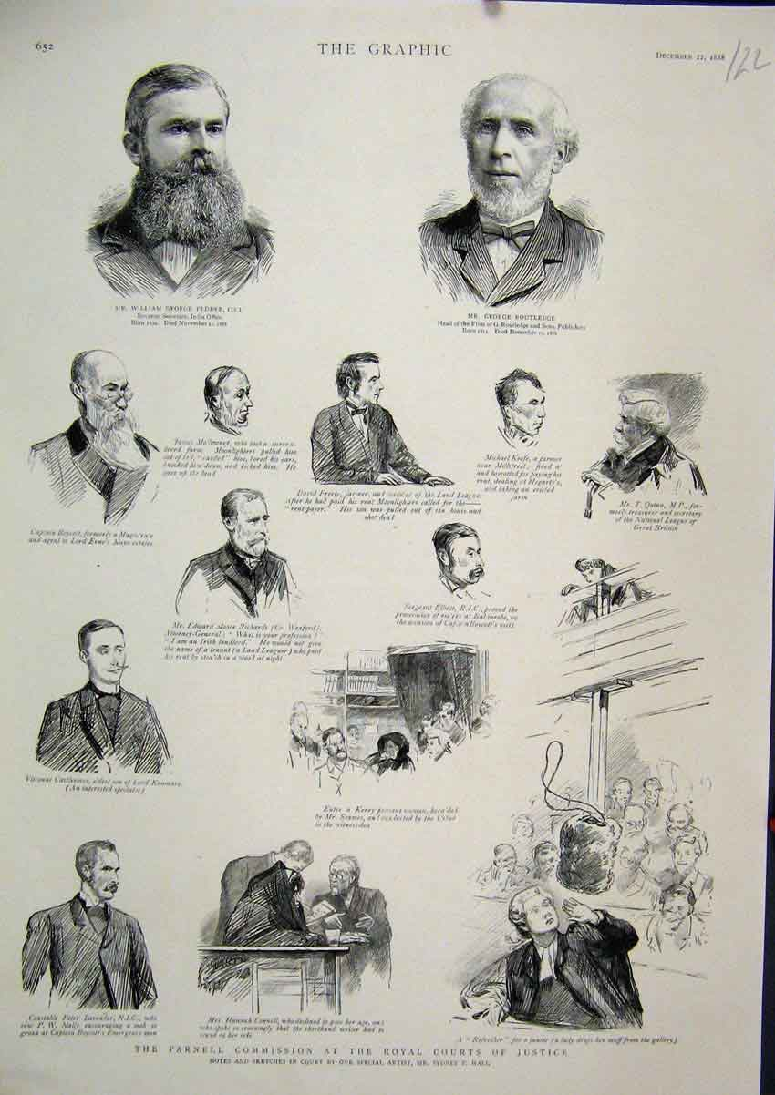 Print 1888 Parnell Commission Royal Court Justice Pedder 22Mar1 Old Original