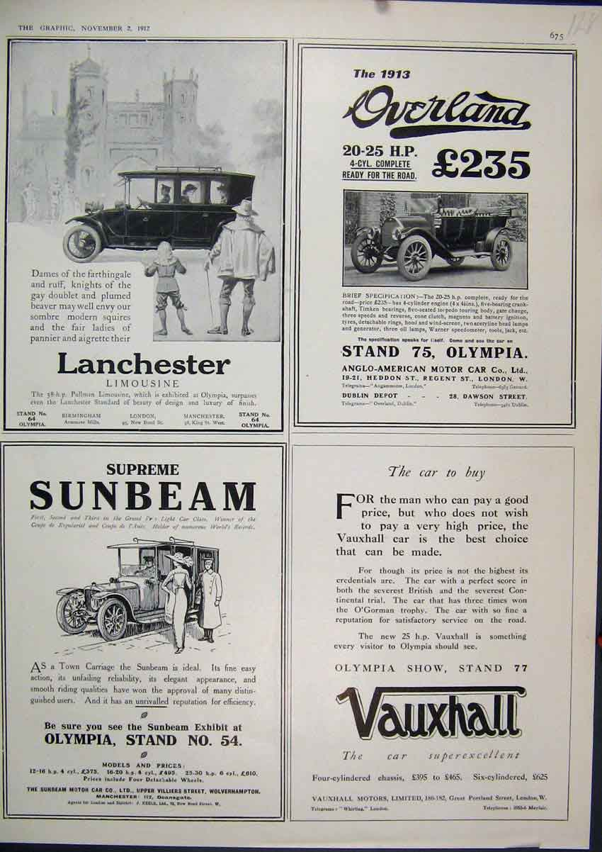 Print 1912 Motor Car Advert Vauxhall Sunbeam Limousine 28Mar1 Old Original