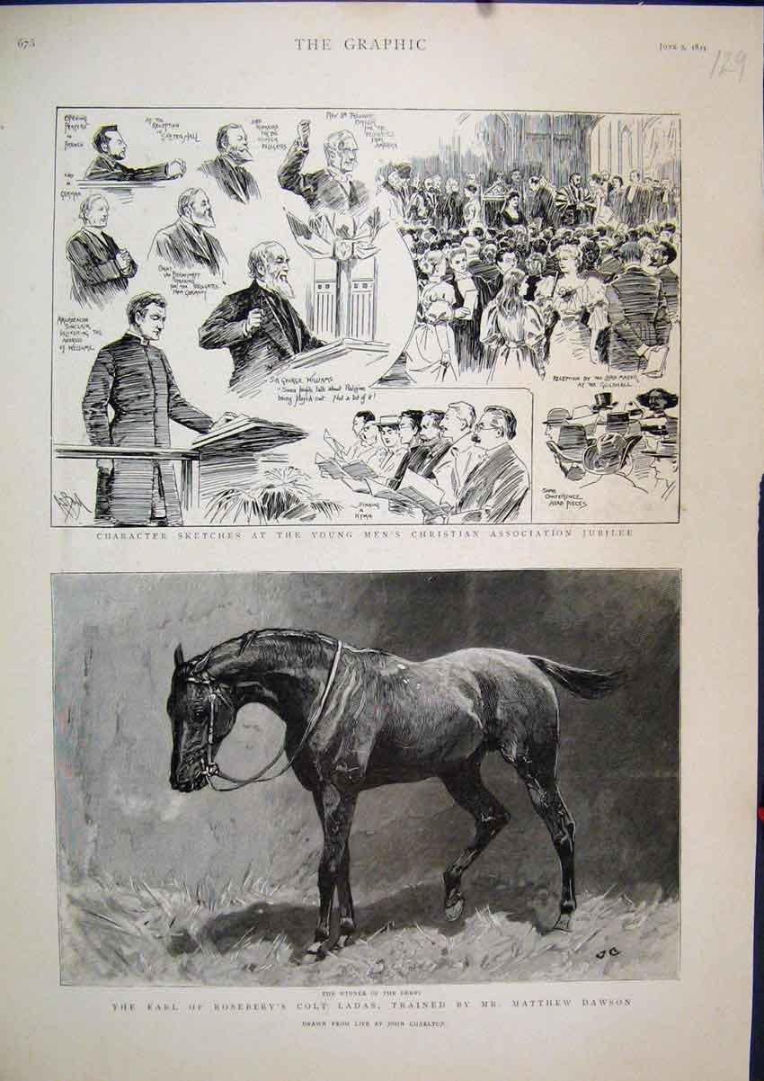 Print 1894 Earl Rosebery Colt Ladas Men Christian Jubilee 29Mar1 Old Original