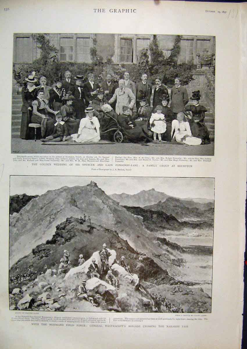 Print 1897 General Westmacotts Brigade Nahakhi Pass Wedding 31Mar1 Old Original