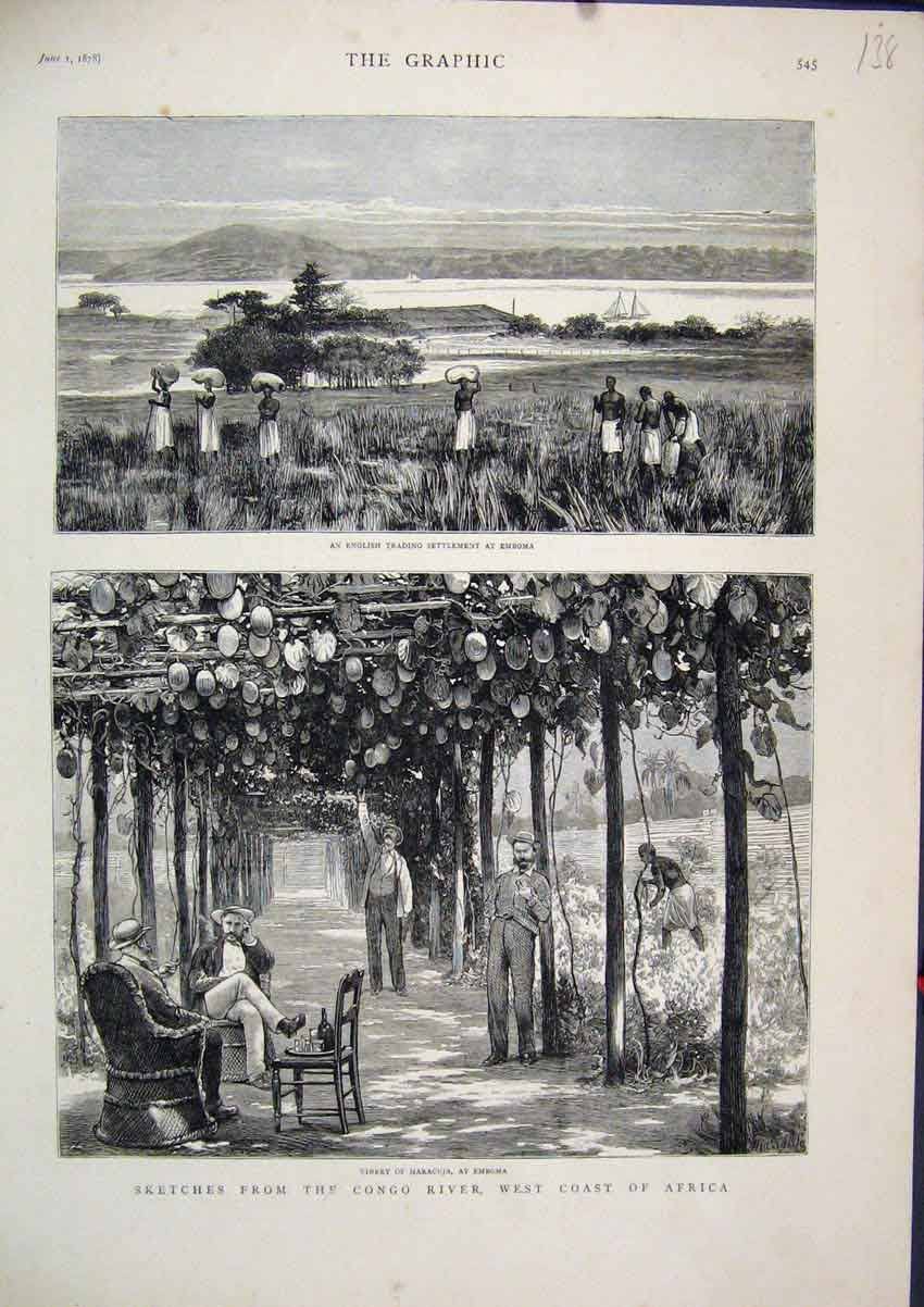 Print 1878 Congo River Coast Africa Vinery English Trading 38Mar1 Old Original