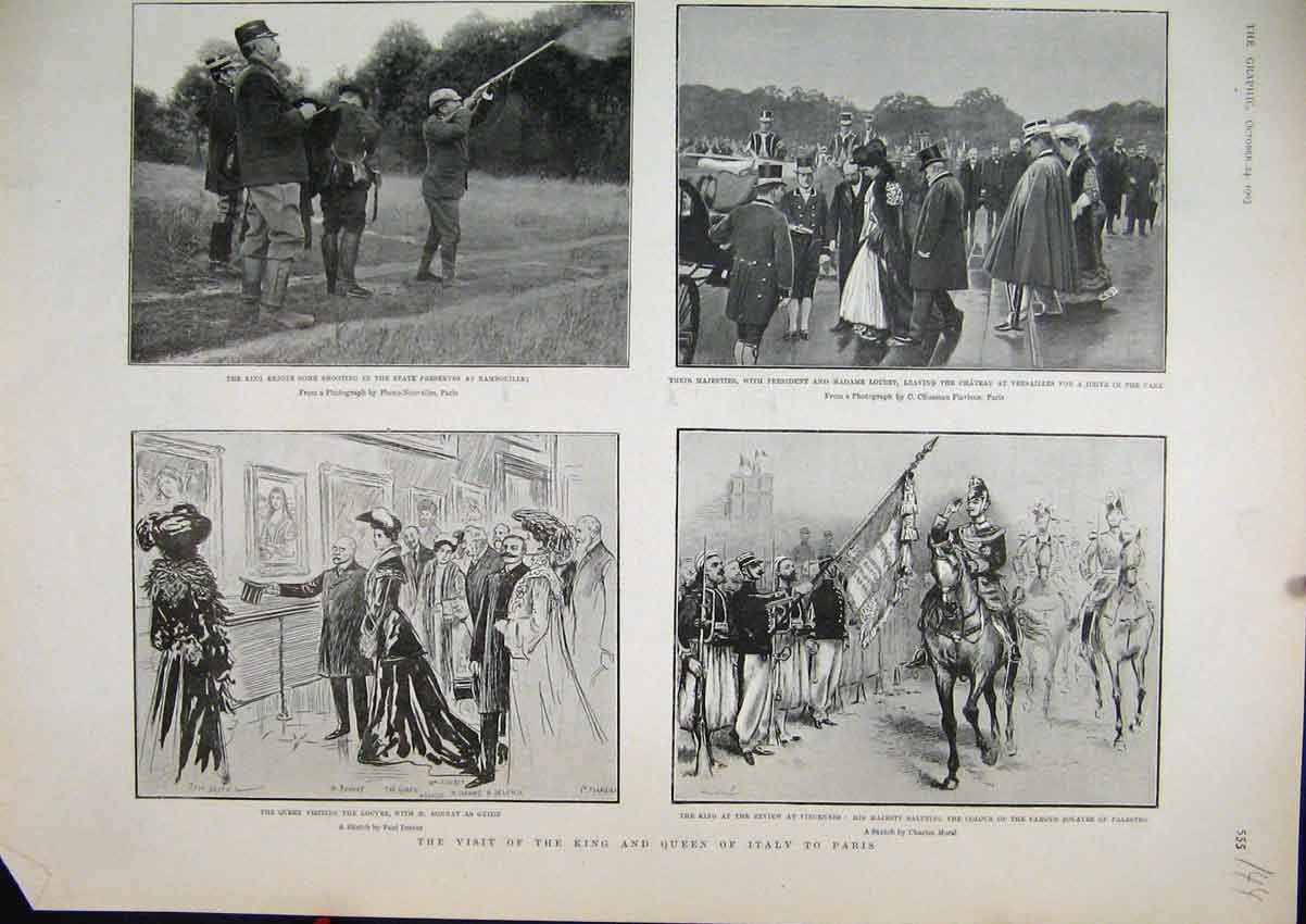 Print 1903 Visit Paris King Queen Italy Shooting Louvre Horse 44Mar1 Old Original