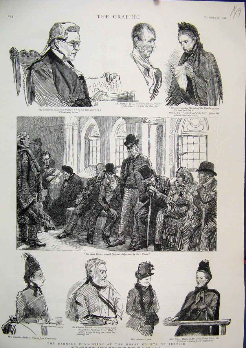 Print 1888 Parnell Commission Royal Court Justice Blake Lyden 49Mar1 Old Original