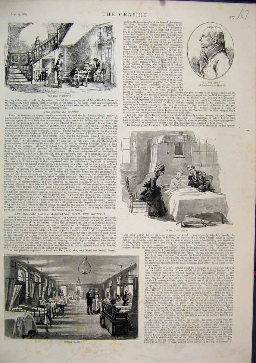 Print 1887 Hospital Dorcas Ward William Hunt Staircase 67Mar1 Old Original