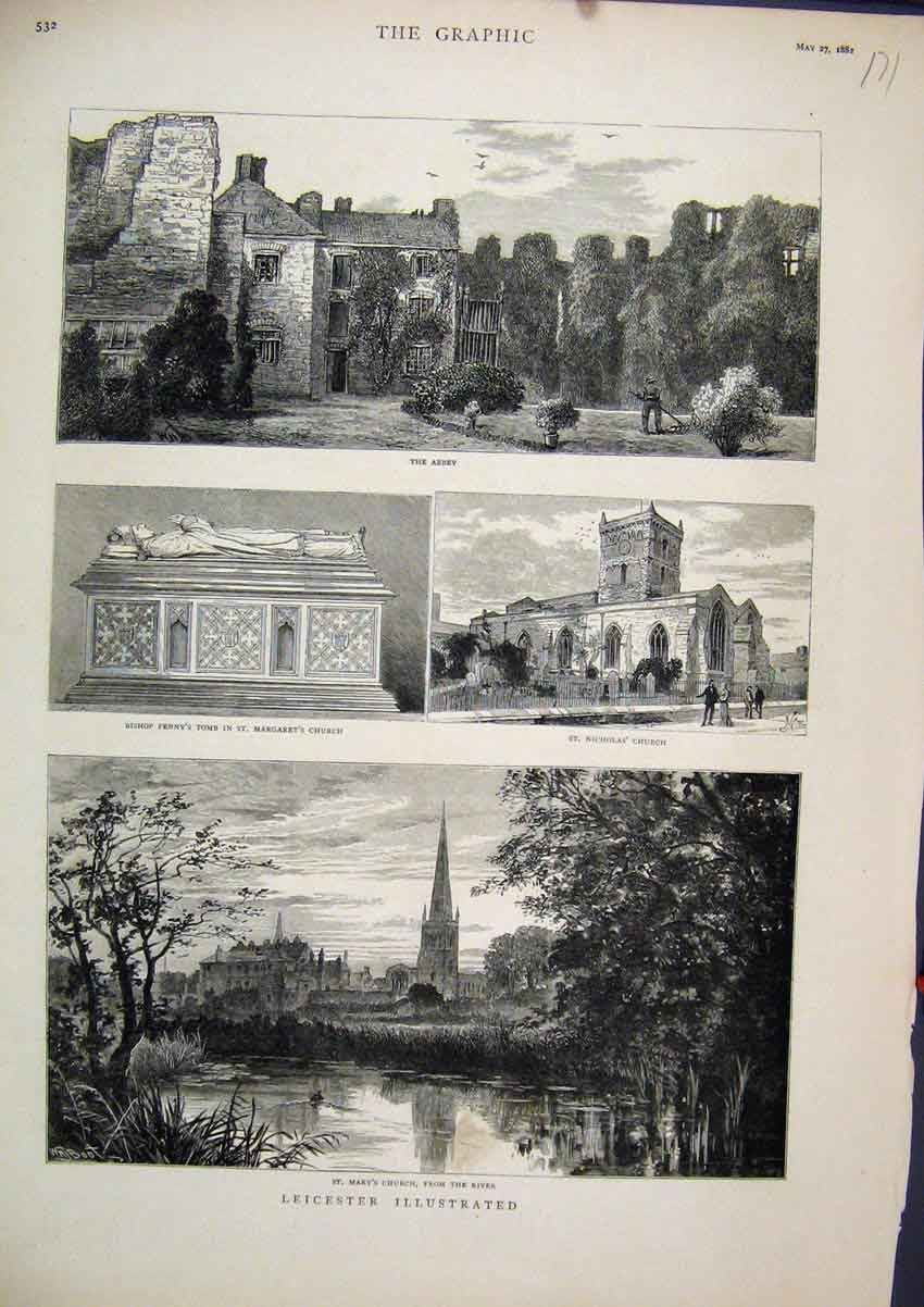 Print 1882 Leicester Mary Church Abbey Bishop Penny Tomb 71Mar1 Old Original