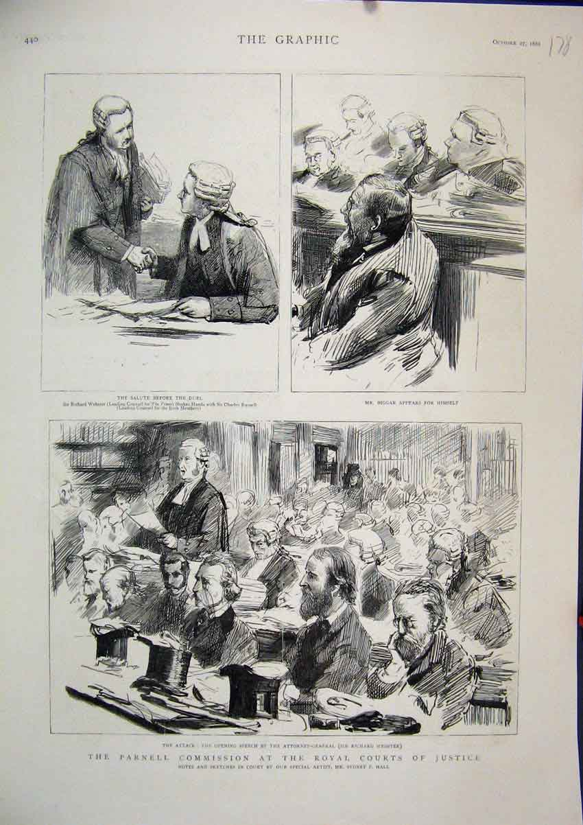 Print 1888 Parnell Commission Royal Court Justice Biggar Duel 78Mar1 Old Original
