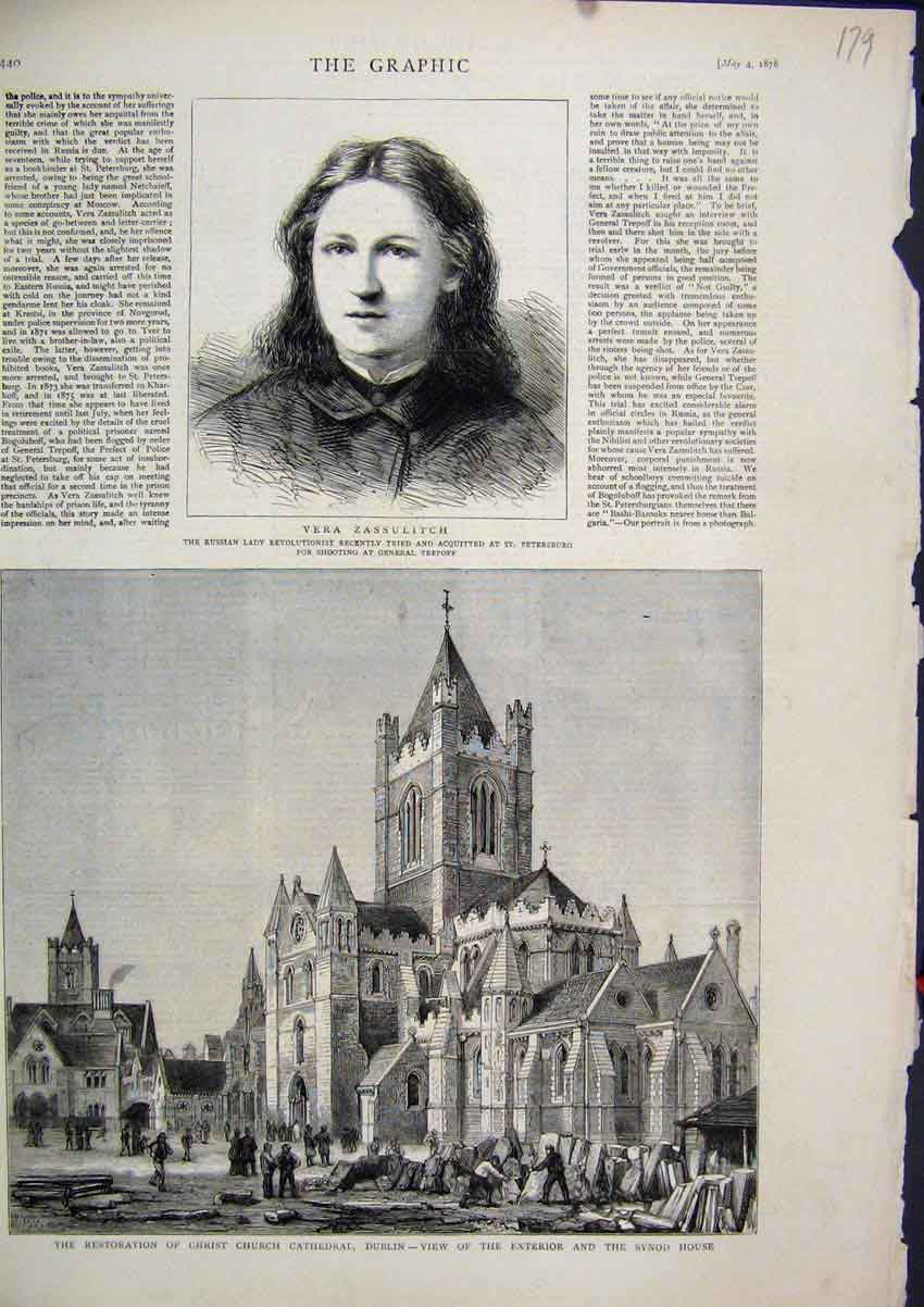 Print 1878 Restoration Christ Church Cathedral Dublin Synod 79Mar1 Old Original