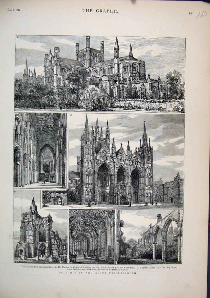 Print 1882 Peterborough Cathedral Nave Croyland Abbey Chapel 80Mar1 Old Original