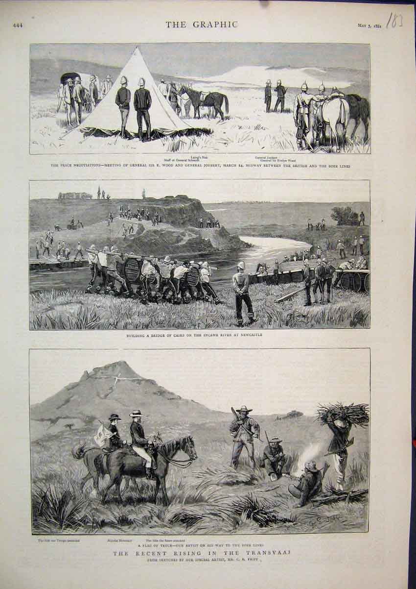 Print 1881 Transvaal Bridge Casks Incawe River Boer Lines 83Mar1 Old Original