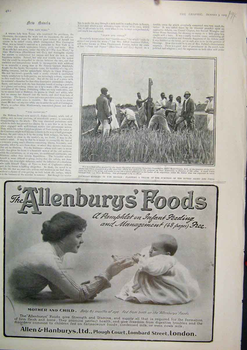 Print 1903 Advert Allenburys Baby Food Boundary Soudan River 94Mar1 Old Original