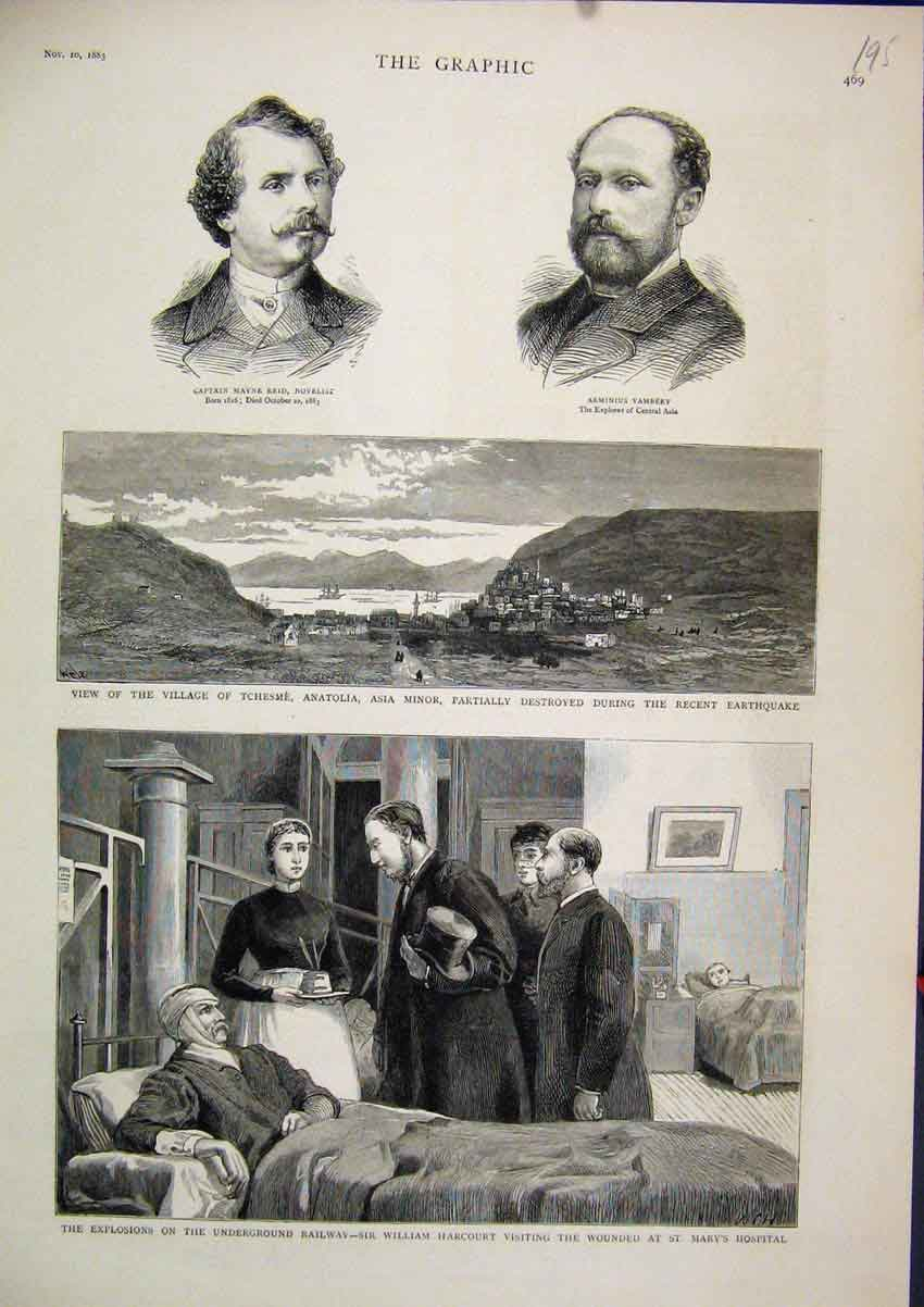 Print 1883 William Harcourt Wounded Marys Hospital Tchesme 95Mar1 Old Original