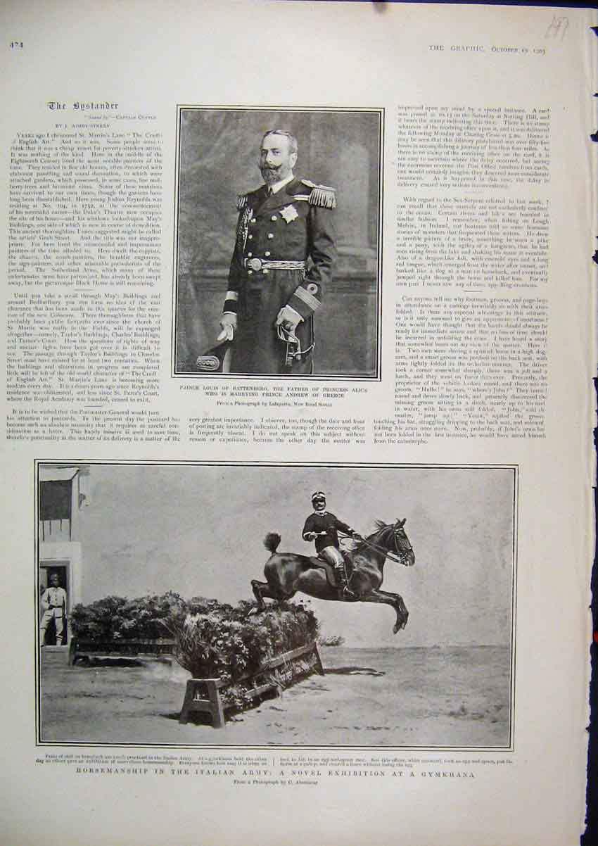 Print 1903 Italian Army Exhibition Gymkhana Prince Louis 97Mar1 Old Original