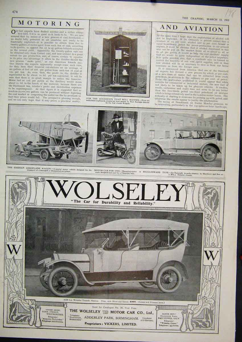 Print 1913 Advert Wolseley Motor Car German Aeroplane Wagon 98Mar1 Old Original