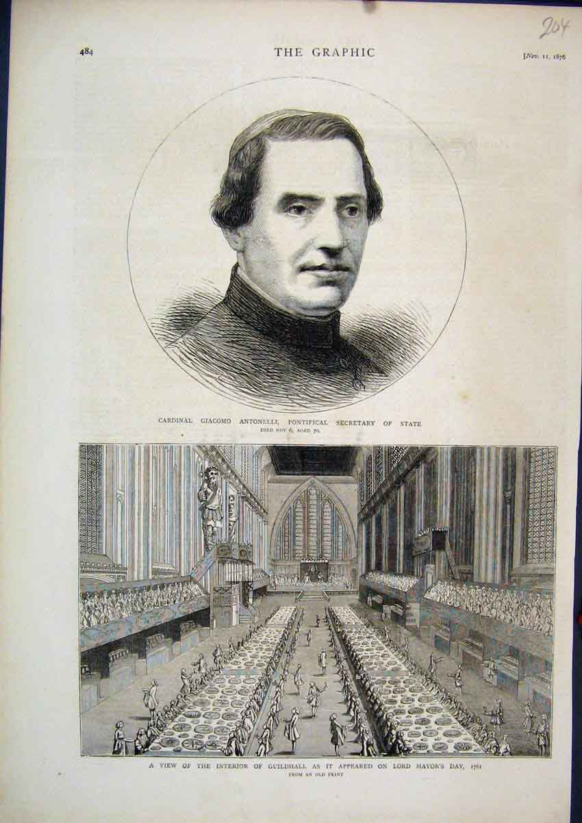 Print 1876 Interior Guildhall Lord Mayor Cardinall Giacomo 04Mar1 Old Original