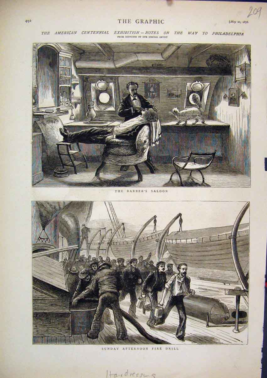 Print 1876 Hairdressing Barbers Saloon Sunday Fire Drill Ship 09Mar1 Old Original