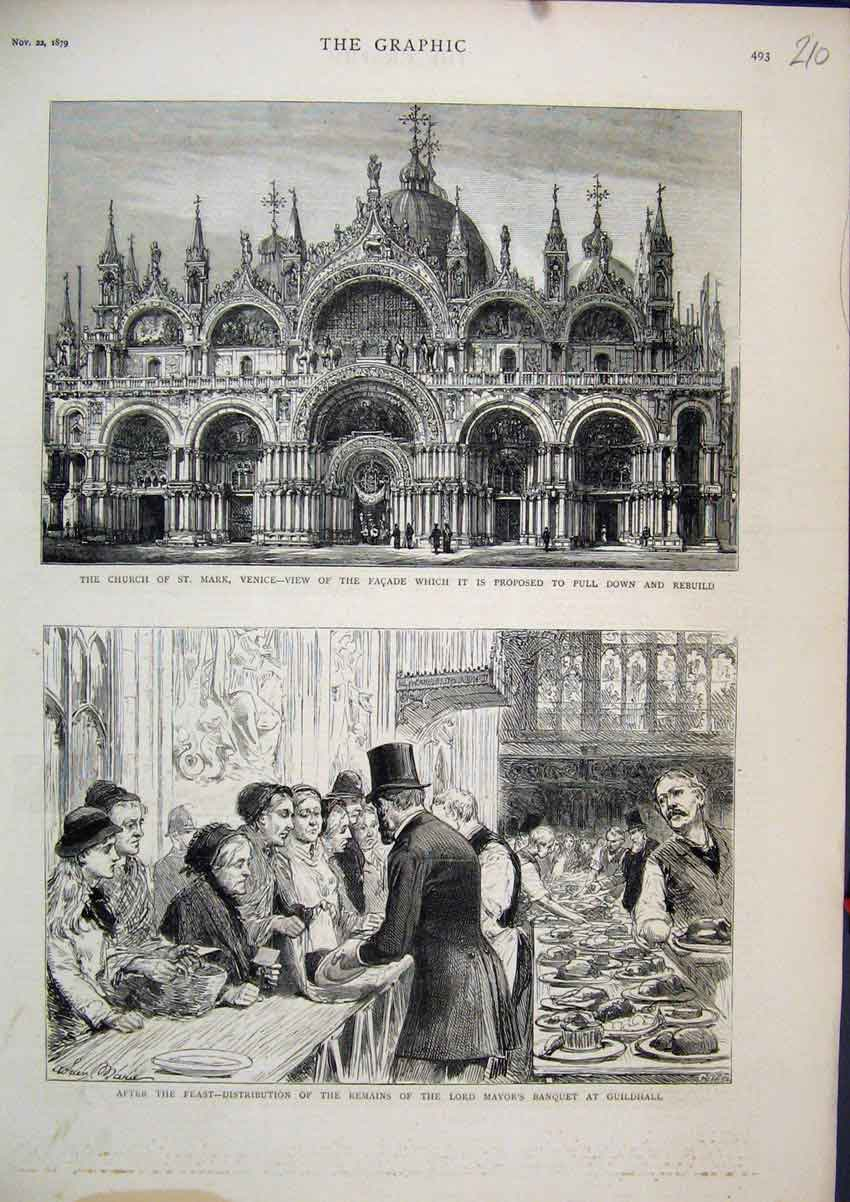 Print 1879 Church St Mark Venice Lord Mayor Banquet Guildhall 10Mar1 Old Original