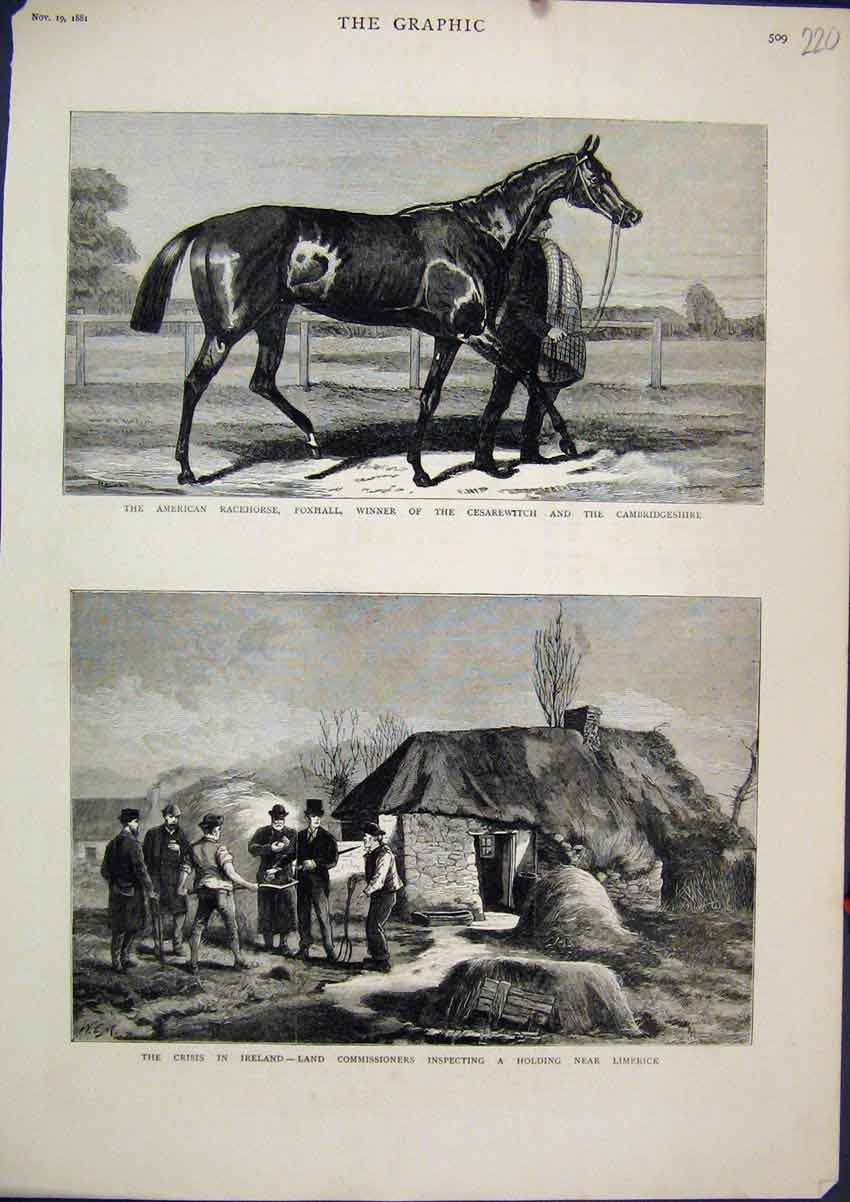 Print 1881 American Racehorse Foxhall Cesaerwitch Limercik 20Mar1 Old Original