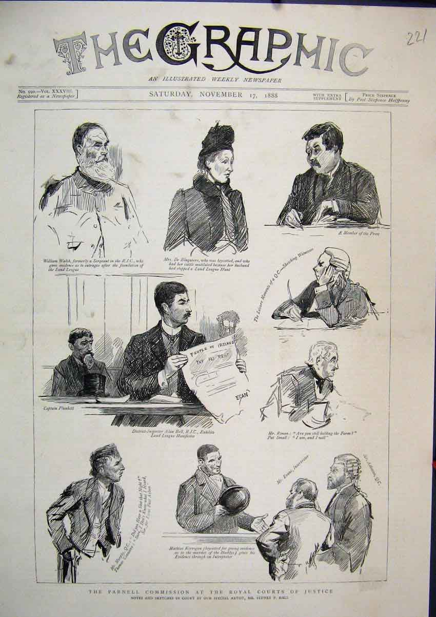 Print 1888 Parnell Commission Royal Court Justice Walsh 21Mar1 Old Original