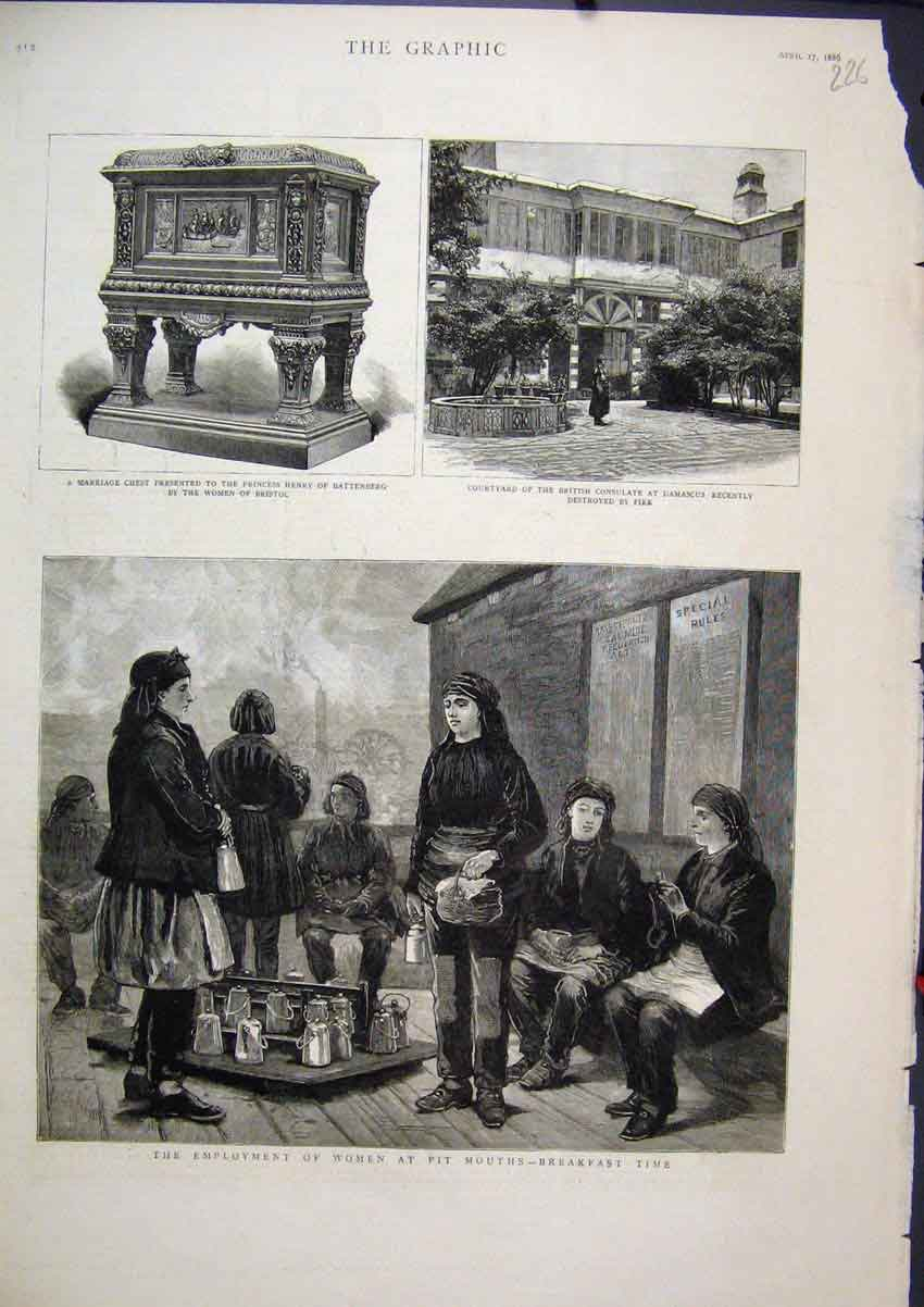 Print 1886 Employment Women Pit Mouth Marriage Chest Henry 26Mar1 Old Original