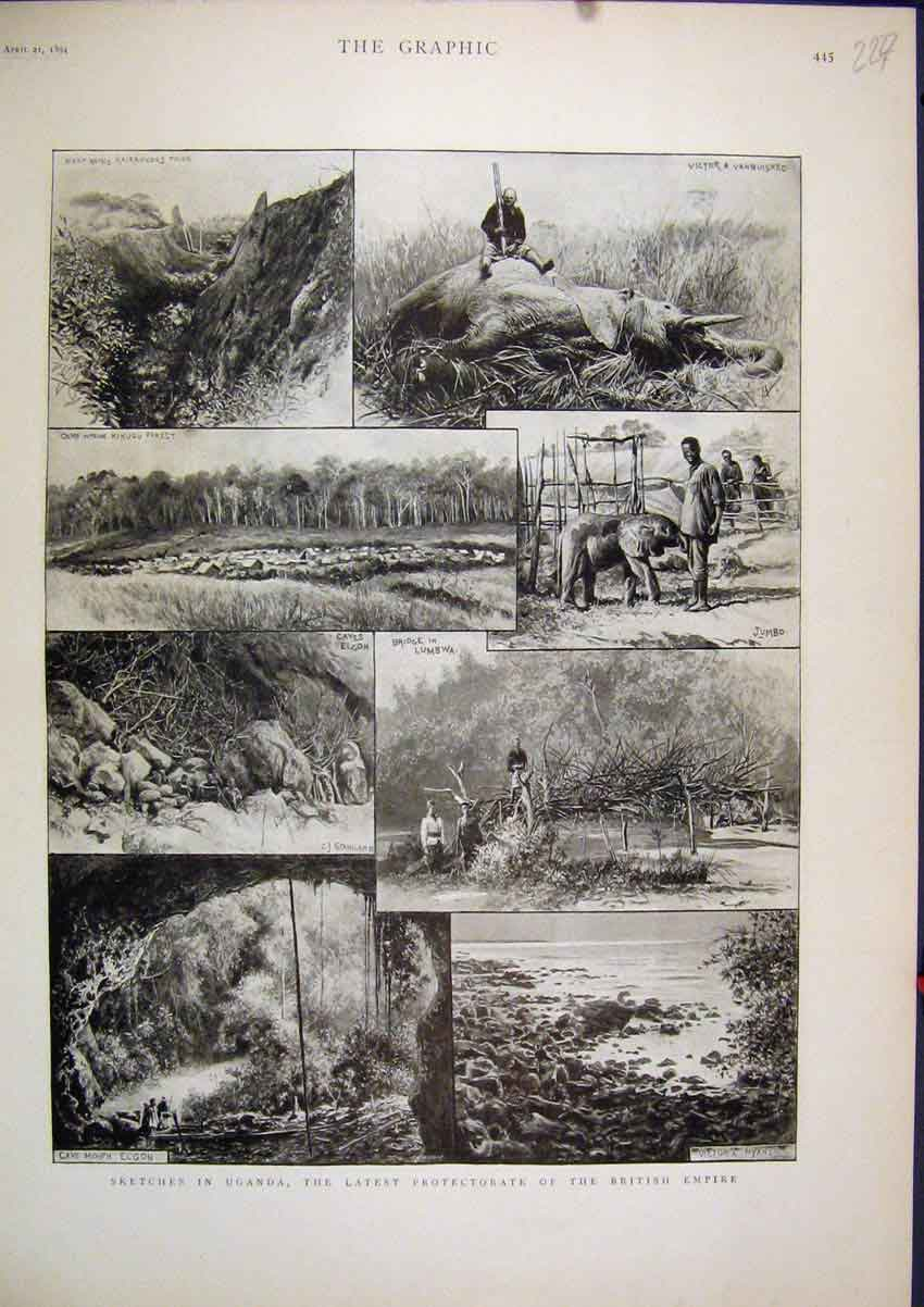 Print Sketches Uganda Protectorate British Empire 1894 Cave 27Mar1 Old Original