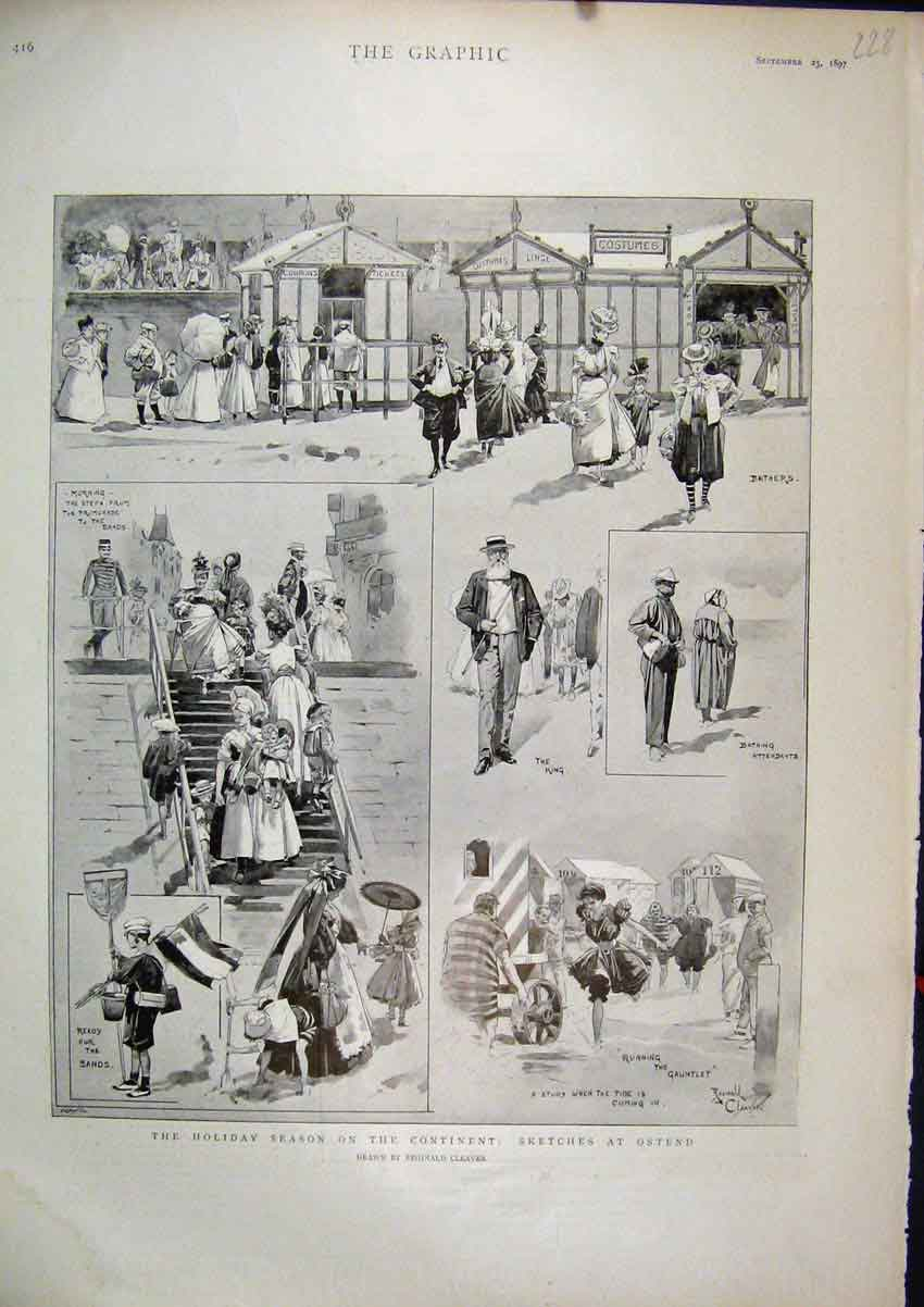 Print 1897 Holiday Season Continent Ostend Bathers King Beach 28Mar1 Old Original
