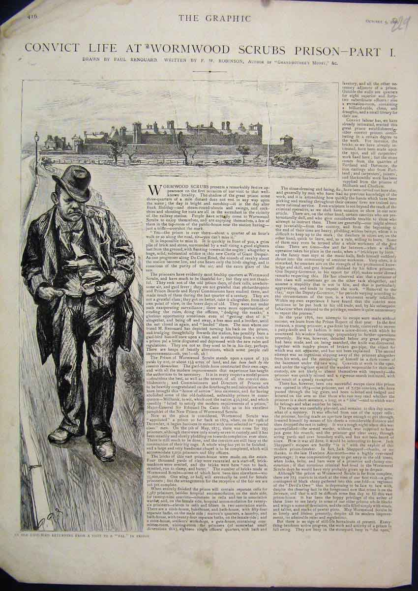 Print 1889 Convict Life Wormwood Scrubs Goal Bird Visiting 29Mar1 Old Original